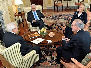 2010–11 Israeli–Palestinian peace talks - Benjamin Netanyahu, Mahmoud Abbas, George J. Mitchell and Hillary Clinton at the start of direct talks on September 2, 2010.