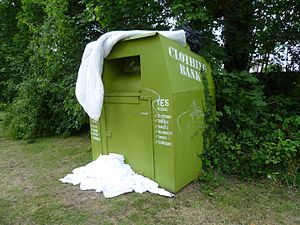 Textile recycling - A Clothing Bank in England.
