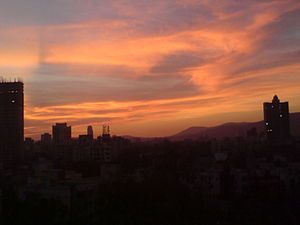 Particulates - Particulates in the air causing shades of grey and pink in Mumbai during sunset