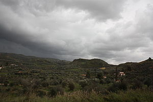 Hills on a cloudy day in the Elis Prefecture o...