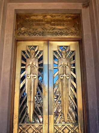 Bisbee, Arizona - Art Deco doors on the Cochise County Courthouse