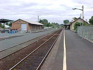 Warrnambool V/Line rail service - Colac station goods shed and platform