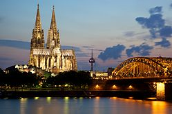Cologne Cathedral and the Hohenzollern Bridge by night