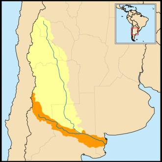 Desaguadero River - Map of the Colorado River (in orange) and Desaguadero River (in yellow) drainage basins