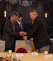 Commandant of the Republic of Korea Marine Corps Lt. Gen. Young Ju Lee, left, shakes hands with U.S. Marine Corps Lt. Gen. John Wissler, the commanding general of the III Marine Expeditionary Force, during 140315-M-XK110-205.jpg