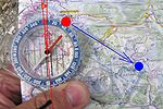 Turning the compass scale on the map (D - the local magnetic declination)