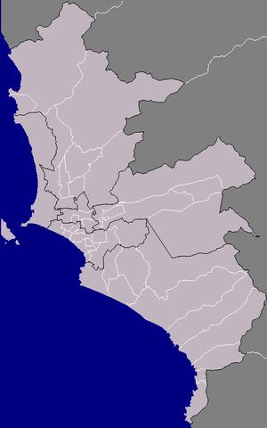 Lima Metropolitan Area - Map showing six subregions of the Lima Metropolitan Area