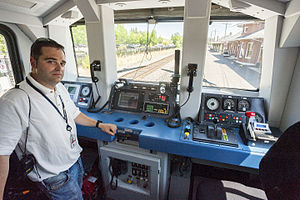 Control stand - The control desk of an Amtrak Talgo-designed Series 8 Cab Control Car