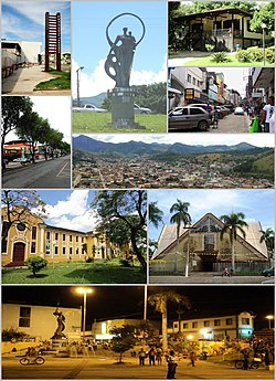 Coronel Fabriciano, Top left:Gateway display at Coronel Fabriciano, Top middle:Motherland Monument(Monumento Terra Mãe), Top upper right:Guest house of the Leste Central Academic (Centro Universitário do Leste, Top lower right:Coronel Silvino Pereira Street (Rua Coronel Silvino Pereira), 2nd left:Magalhães Pinto Avenue (Avenida Magalhães Pinto), 2nd right:Panoramic view of Coronel Fabriciano, from Alto Giovannini II, 3rd left:Angélica Colledge (Colégio Angélica), 3rd right:San Sebastian Cathedral (Catedral de São Sebastião), Bottom Night View of Fabriciano Station Square (Praça da Estação da Coronel Fabriciano)