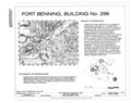 Cover sheet and site plan - Fort Benning, Building No. 296, Hunt Club, Marne Road, Fort Benning Military Reservation, Chattahoochee County, GA HABS GA-2392-A (sheet 1 of 6).png