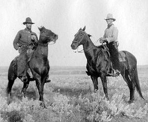 Stock horse - Montana cowboys and their horses, circa 1910.
