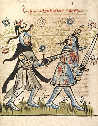 Longsword - Example of two handed use vs. half-sword, dating to ca. 1418 (CPG 359, fol. 46v).