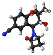 Ball-and-stick model of the cromakalim molecule