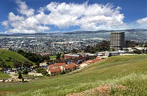 California State University, East Bay - Hayward, East Bay hills, and the San Francisco Bay, overlooking California State University, East Bay and the iconic (now demolished) Warren Hall