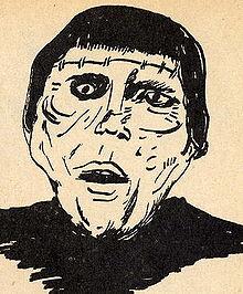 infaneca desegnaĵo de Christopher Lee en Malbeno de Frankenstein