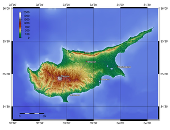 Description: Topography of Cyprus, created wit...