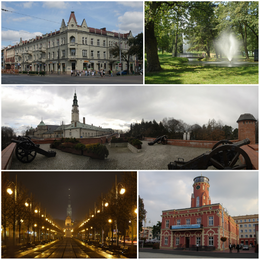 Częstochowa tourist's attractions, Top left: eclectic Kamienica Kupiecka (1894 - 1907), Top right: Fountain at Stanisław Staszic Park, Middle: View of May Third Park and Jasna Góra Monastery, Bottom left: View of Holy Virgin Mary Avenue and Jasna Góra, Bottom right: Częstochowa City Hall