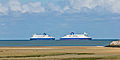 DFDS Dover Seaways and Delft Seaways meet earch other, estuary of the river Aa near Gravelines-7917.jpg
