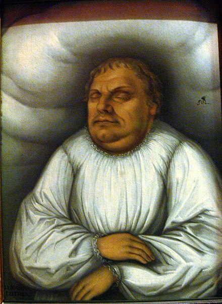 Luther on his deathbed, painting by Lucas Cranach the Elder DHM - Luther auf Totenbett.jpg