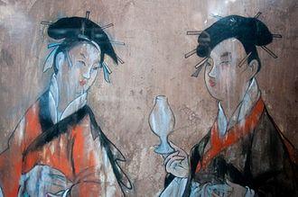 Daqin - Image: Dahuting tomb mural detail of women wearing hanfu, Eastern Han period