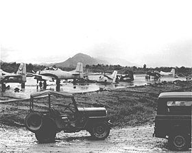 Damaged Laotian North American T-28D aircraft at Luang Prabang, Laos, in 1967 (110329-F-XN622-002).jpg