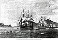 Das Zentralamerikanische Geschwader vor Corinto März 1878 Von links SMS Leipzig Elisabeth Ariadne Zeichnung von H Penner Illustrirte Zeitung 13 Juli 1878.jpg