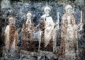 Ingegerd Olofsdotter of Sweden - 11th-century fresco of the St. Sophia Cathedral in Kiev representing the daughters of Ingegerd and Yaroslav I, with Anna probably being the youngest. Other daughters were Anastasia wife of Andrew I of Hungary, Elizabeth wife of Harald III of Norway, and perhaps Agatha wife of Edward the Exile.