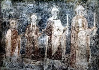 Yaroslav the Wise - Eleventh-century fresco of Saint Sophia's Cathedral, Kiev, representing the daughters of Yaroslav I, with Anne probably being the youngest. Other daughters were Anastasia, wife of Andrew I of Hungary; Elizabeth, wife of Harald Harðráði; and possibly Agatha, wife of Edward the Exile.