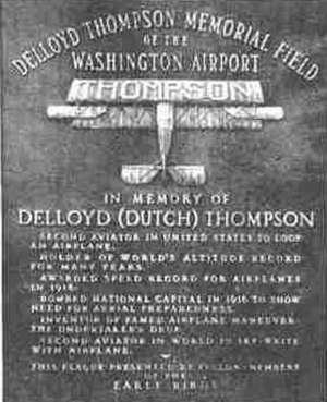 Washington County Airport (Pennsylvania) - The plaque honoring DeLloyd Thompson created by Early Birds of Aviation, which was installed at the Washington County Airport in 1949.