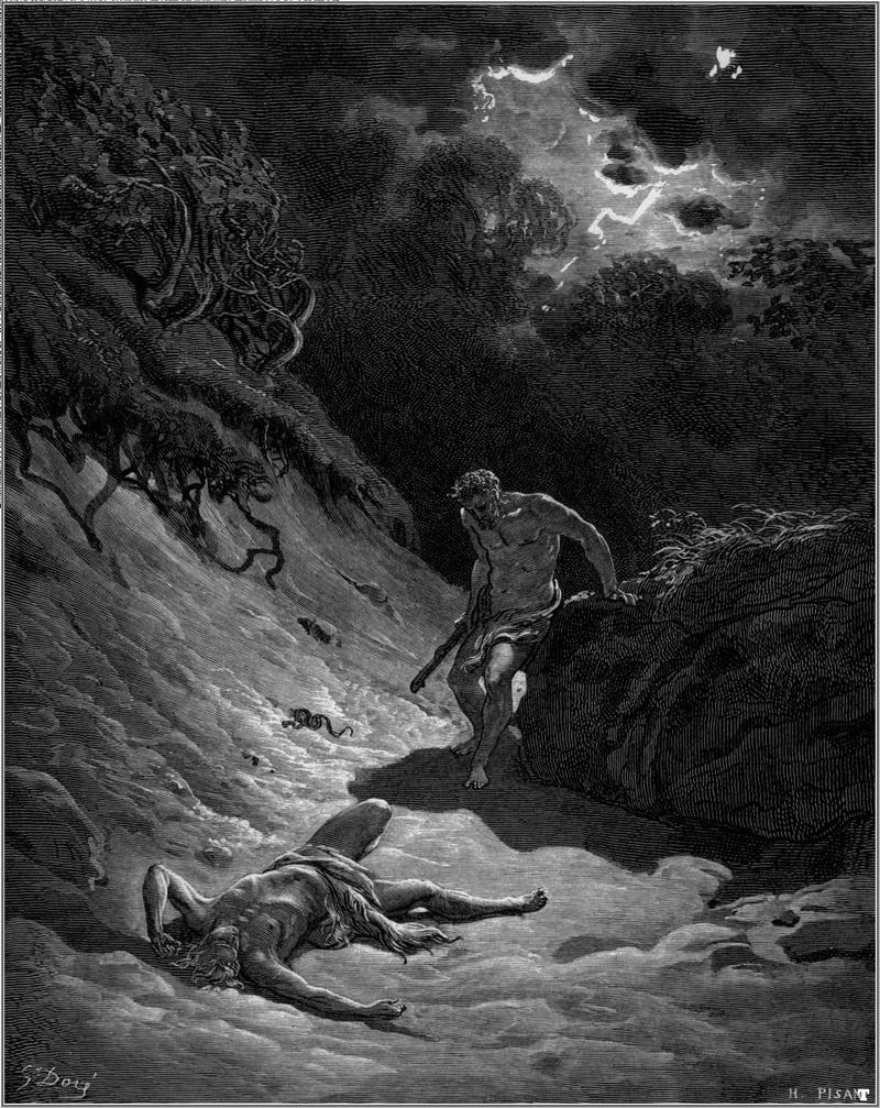 Arte - A morte de Abel, retratando os relatos Bíblicos do Antigo Testamento