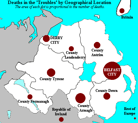 Deaths in The Troubles by area