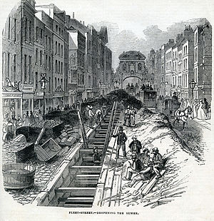 River Fleet - Construction work in 1845 to deepen the sewer carrying the Fleet down Fleet Street