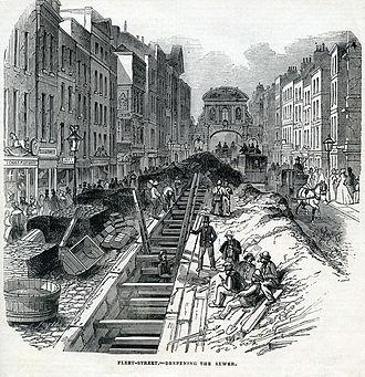 River Fleet - Construction work in 1845 to deepen the sewer carrying the Fleet down Fleet Street