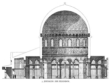 Cross section of the Dome (print from 1887, after the first detailed drawings of the Dome, made by Frederick Catherwood in 1833). Dehio 10 Dome of the Rock Section.jpg