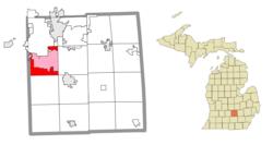 Lage in Ingham County (rot) und dem verabreichten CDP von Holt (pink)