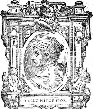 """Dello di Niccolò Delli - Illustration of Dello di Niccolò Delli from """"Le Vite"""" by Giorgio Vasari"""