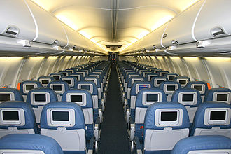 Boeing 737 Next Generation - Delta Air Lines 737-800 cabin with conventional interior
