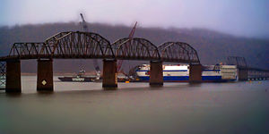 Eggner's Ferry Bridge - Original Eggners Ferry Bridge in February 2012, with the MV ''Delta Mariner'' and destroyed span