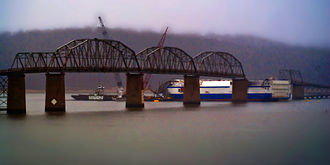 Eggner's Ferry Bridge - Original Eggners Ferry Bridge in February 2012, with the MV Delta Mariner and destroyed span