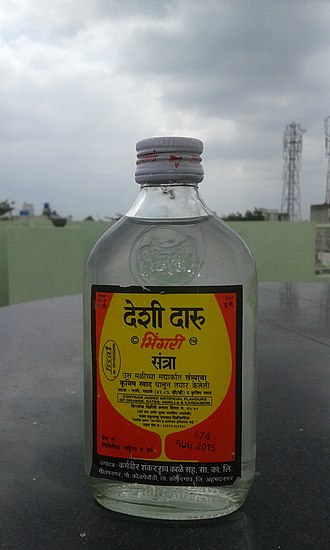 Desi daru - Image: Desi daru (desi liqour) with Orange flavor