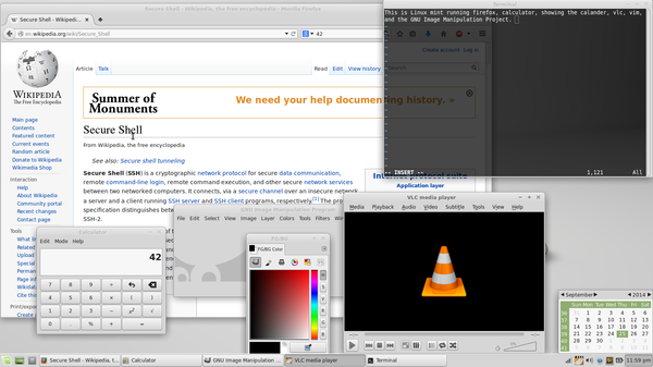 Example of a modern free-software operating system running some representative applications. Shown are the Xfce desktop environment, the Firefox web browser, the Vim text editor, the GIMP image editor, and the VLC media player.