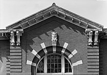 Detail view of arched window and pediment, south elevation - St. Elizabeths Hospital, Hitchcock Hall, 2700 Martin Luther King Jr. Avenue, Southeast, 588-604 Redwood Street, Southeast, HABS DC-349-S-7.jpg