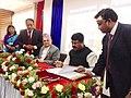 Dharmendra Pradhan and the Commerce and Civil Supplies Minister of Nepal, Shri Sunil Thapa signing an MoU for the construction of Raxaul-Amlekhgunj petroleum pipiline, in Khatmandu on August 24, 2015.jpg