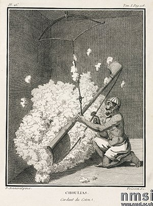 "Carding - A ""Cotton carder"". An old engraving copied from artist Pierre Sonnerat's 1782 illustration"