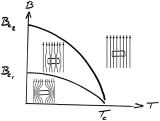 characterized by the formation of magnetic vortices in an applied magnetic field