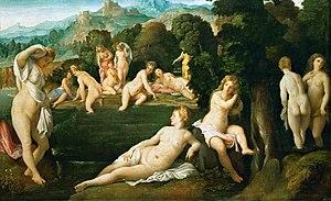 Palma Vecchio - Image: Diana and Callisto Palma Vecchio