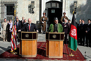 Presidency of Hamid Karzai - U.S. Vice President Dick Cheney and Hamid Karzai during a news conference on 7 December 2004.