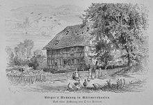 Bürgers Wohnung in Wöllmarshausen. Aus: Die Gartenlaube, 1873 (Quelle: Wikimedia)