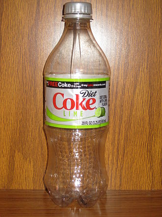 Coca-Cola with Lime - An empty Diet Coke with Lime Bottle.