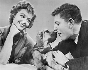 Discovery (1960s TV series) - Virginia Gibson and Frank Buxton with baby bloodhound, Corpuscle, 1962.